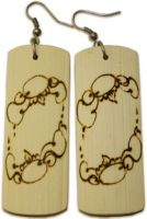 Rectangular Woodburned Earrings