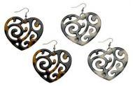 Heart Shaped Turtle Shell Earrings