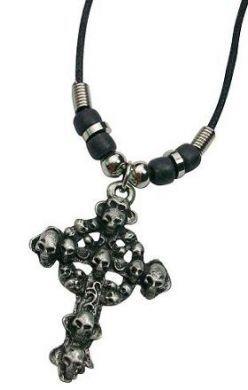 Metal Cross with Skulls Necklace