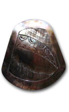 Bell Carved Black Mother of Pearl