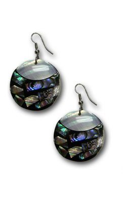 Round White Clam and Abalone Earrings