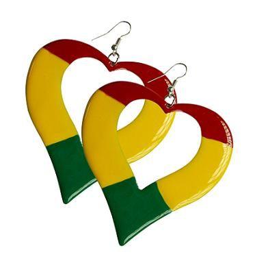Rasta Heart Earrings-XL