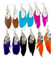 Feather Earrings with leaf