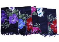 Black Sarongs with Color Hibiscus