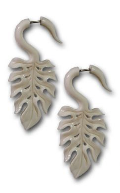 Bone Fake Gage Earrings-Monstera Leaf