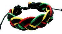 Twisted Leather Rasta Bracelet