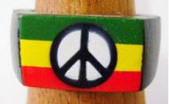 Wood Rasta Peace Ring