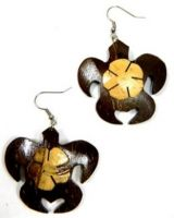 Samoan Coconut Earrings-Turtle