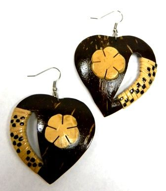 Samoan Coconut Earrings-Heart
