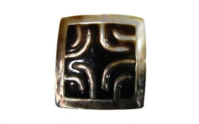 Square Carved Black Mother of Pearl