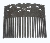 Turtle Shell Hair Comb - Carved Turtles - Gray
