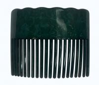 Faux Turtle Shell Hair Comb - Dark Green