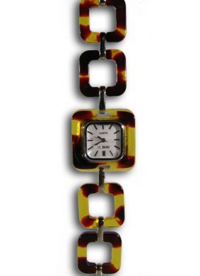 Faux Turtle Shell Watch - Square Links