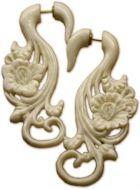 Bone flower Fake Gauge Earrings