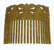 Turtle Shell Hair Comb - Carved Turtles - Gold