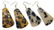 Carved Trapezoid Faux Turtle Shell Earrings