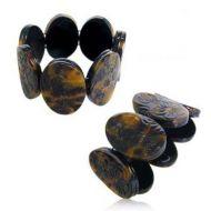 Carved Oval shaped Stretch Bracelet